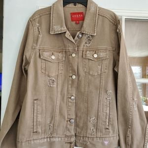 Guess khaki jean jacket distressed silver hardware